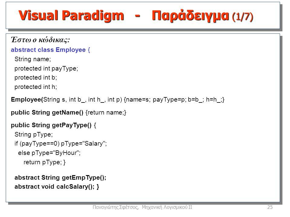 25Παναγιώτης Σφέτσος, Μηχανική Λογισμικού ΙΙ Έστω ο κώδικας: abstract class Employee { String name; protected int payType; protected int b; protected