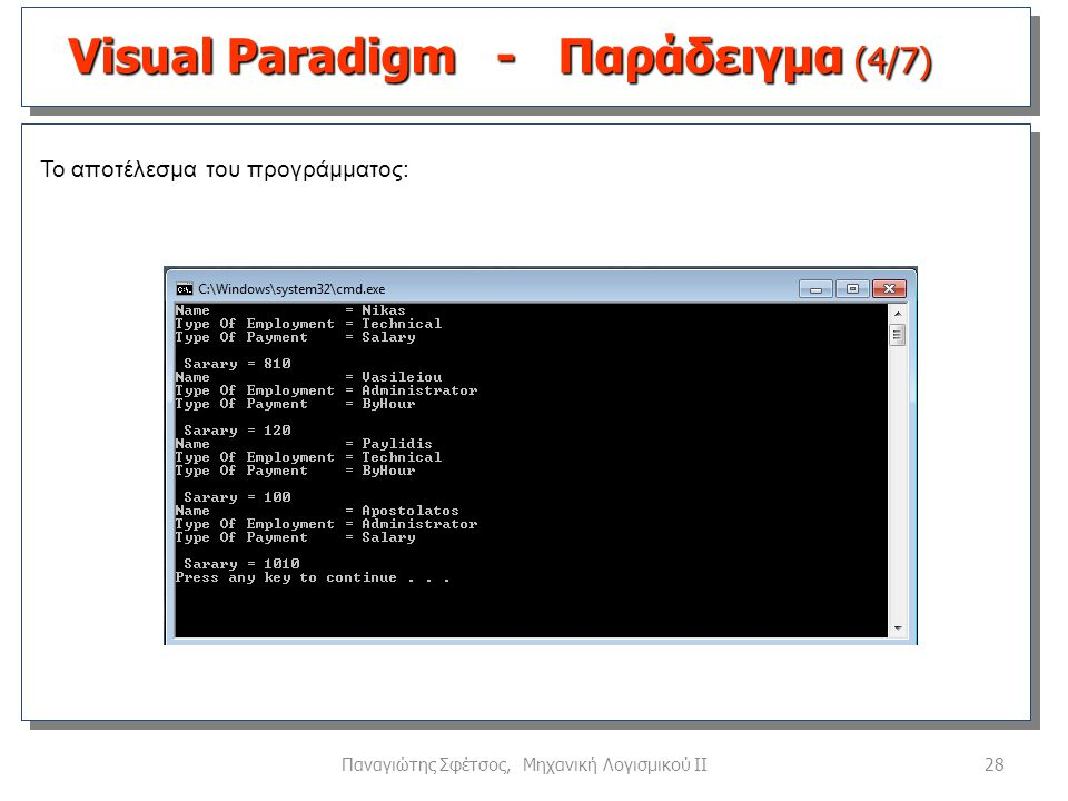 28Παναγιώτης Σφέτσος, Μηχανική Λογισμικού ΙΙ Το αποτέλεσμα του προγράμματος: Visual Paradigm - Παράδειγμα (4/7)