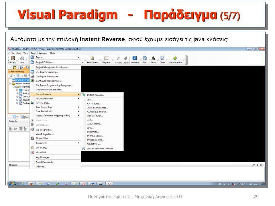 29Παναγιώτης Σφέτσος, Μηχανική Λογισμικού ΙΙ Αυτόματα με την επιλογή Instant Reverse, αφού έχουμε εισάγει τις java κλάσεις: Visual Paradigm - Παράδειγ