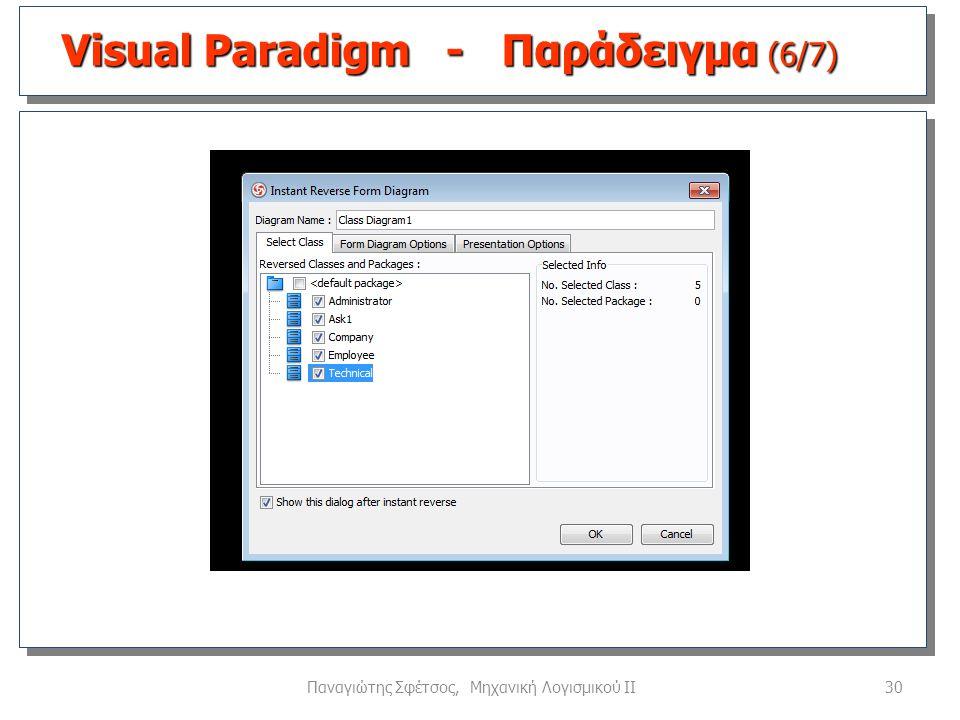 30Παναγιώτης Σφέτσος, Μηχανική Λογισμικού ΙΙ Visual Paradigm - Παράδειγμα (6/7)