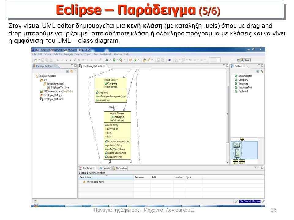 36Παναγιώτης Σφέτσος, Μηχανική Λογισμικού ΙΙ Στον visual UML editor δημιουργείται μια κενή κλάση (με κατάληξη.ucls) όπου με drag and drop μπορούμε να