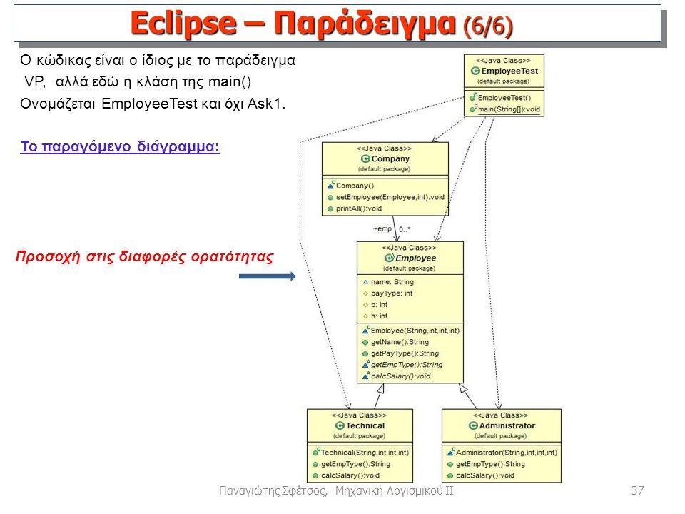 37Παναγιώτης Σφέτσος, Μηχανική Λογισμικού ΙΙ Ο κώδικας είναι ο ίδιος με το παράδειγμα VP, αλλά εδώ η κλάση της main() Ονομάζεται EmployeeTest και όχι