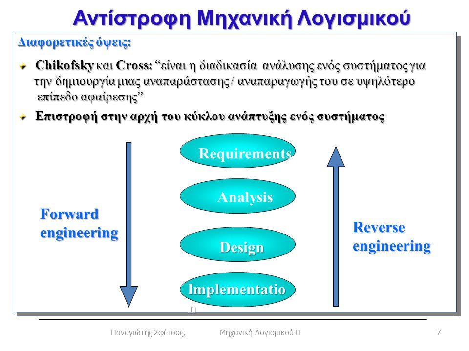 """Αντίστροφη Μηχανική Λογισμικού 7Παναγιώτης Σφέτσος, Μηχανική Λογισμικού ΙΙ Διαφορετικές όψεις: Chikofsky και Cross: """"είναι η διαδικασία ανάλυσης ενός"""