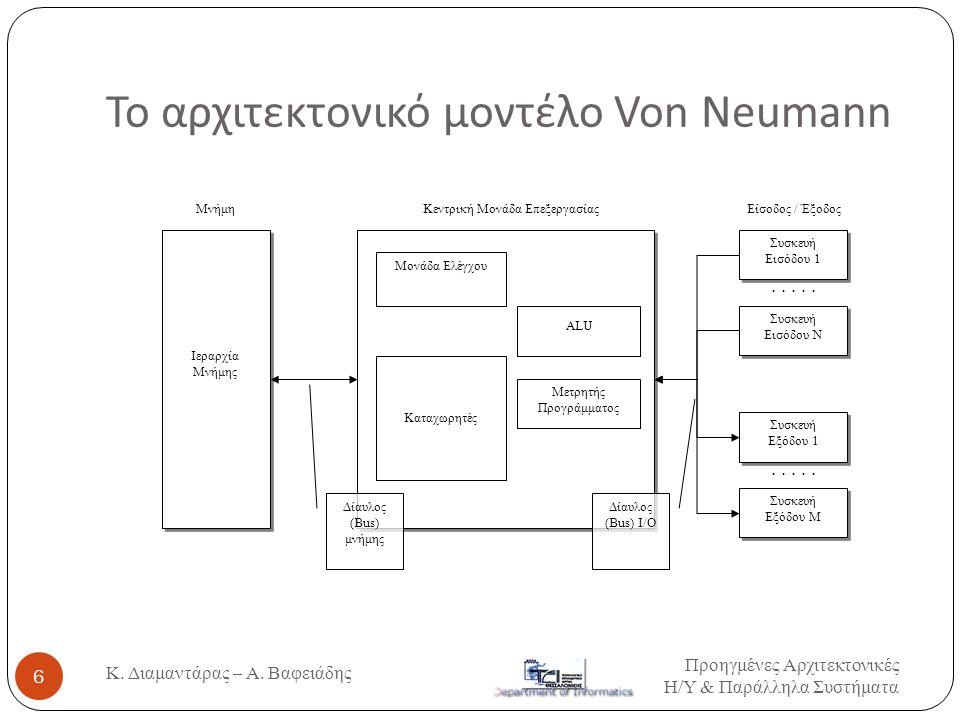 Βάσεις της Αρχιτεκτονικής εξέλιξης Προηγμένες Αρχιτεκτονικές Η / Υ & Παράλληλα Συστήματα 7 Pipelining: επιτρέπει ταυτόχρονη εκτέλεση πολλαπλών εντολών, έστω και σε διαφορετικές φάσεις η κάθε μια, από μια μόνο κεντρική επεξεργαστική μονάδα Παραλληλισμός: επιτρέπει την ταυτόχρονη εκτέλεση πολλαπλών εντολών με χρήση πολλών επεξεργαστικών μονάδων και Αρχή της τοπικότητας των κλήσεων: καθιστά ανταποδοτική την χρήση της κρυφής μνήμης (cache) και της εικονικής μνήμης (virtual memory).