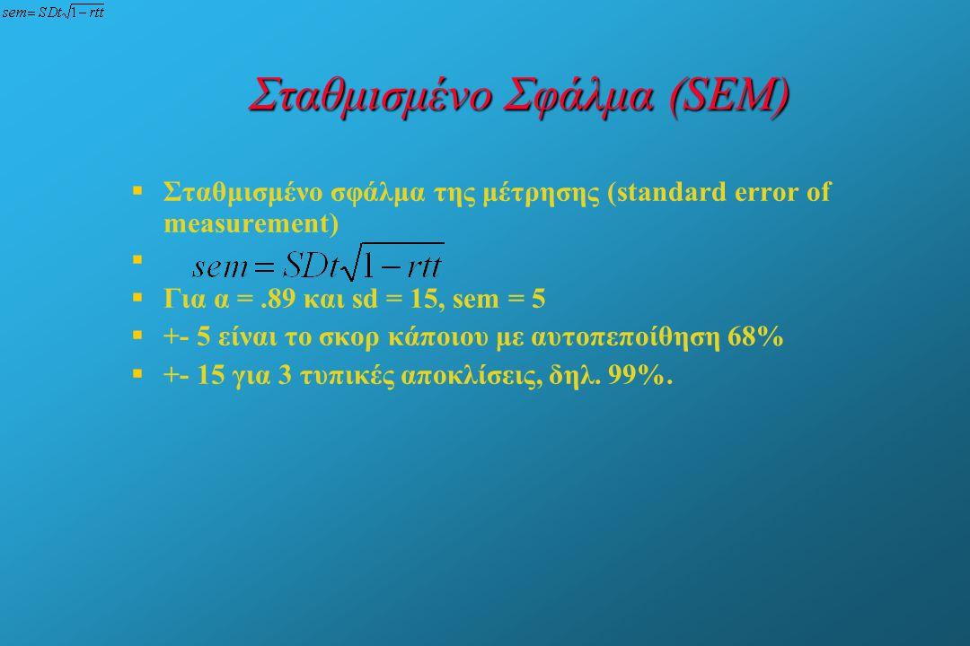 Σταθμισμένο Σφάλμα (SEM)   Σταθμισμένο σφάλμα της μέτρησης (standard error of measurement)     Για α =.89 και sd = 15, sem = 5   +- 5 είναι το