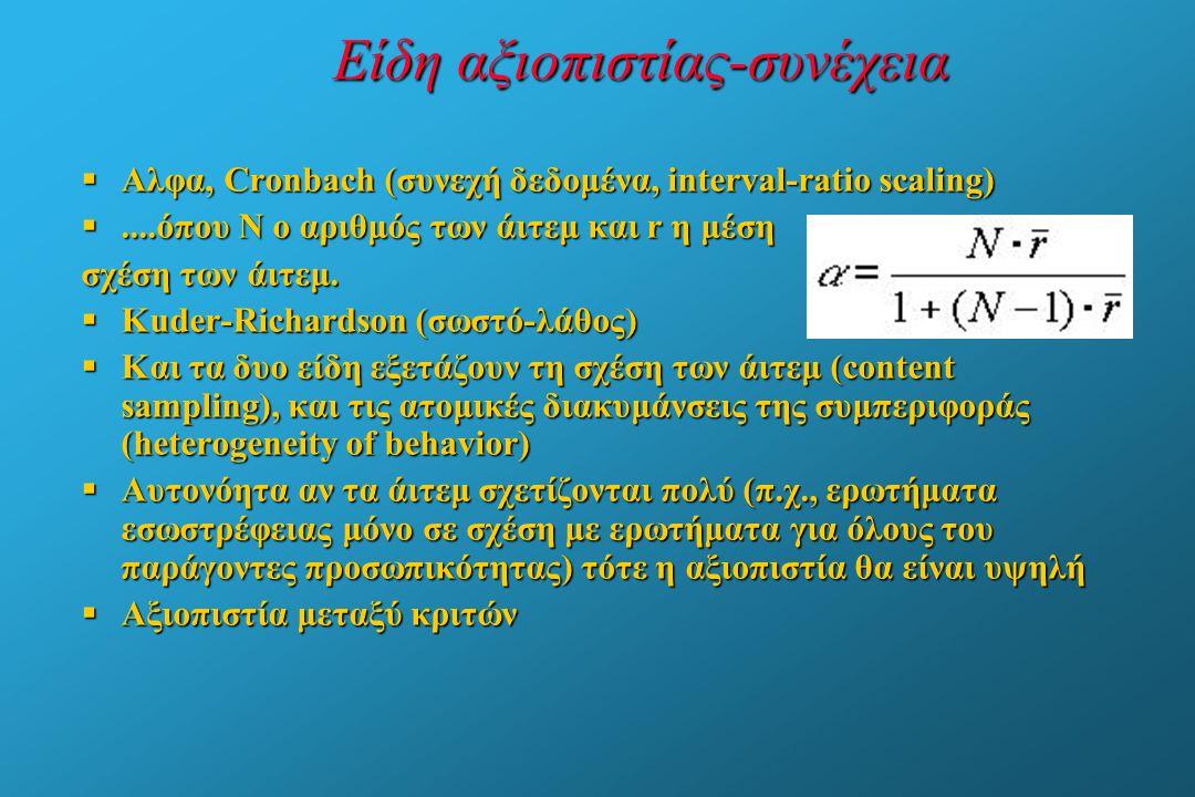 Είδη αξιοπιστίας-συνέχεια  Αλφα, Cronbach (συνεχή δεδομένα, interval-ratio scaling) ....όπου Ν ο αριθμός των άιτεμ και r η μέση σχέση των άιτεμ.  K