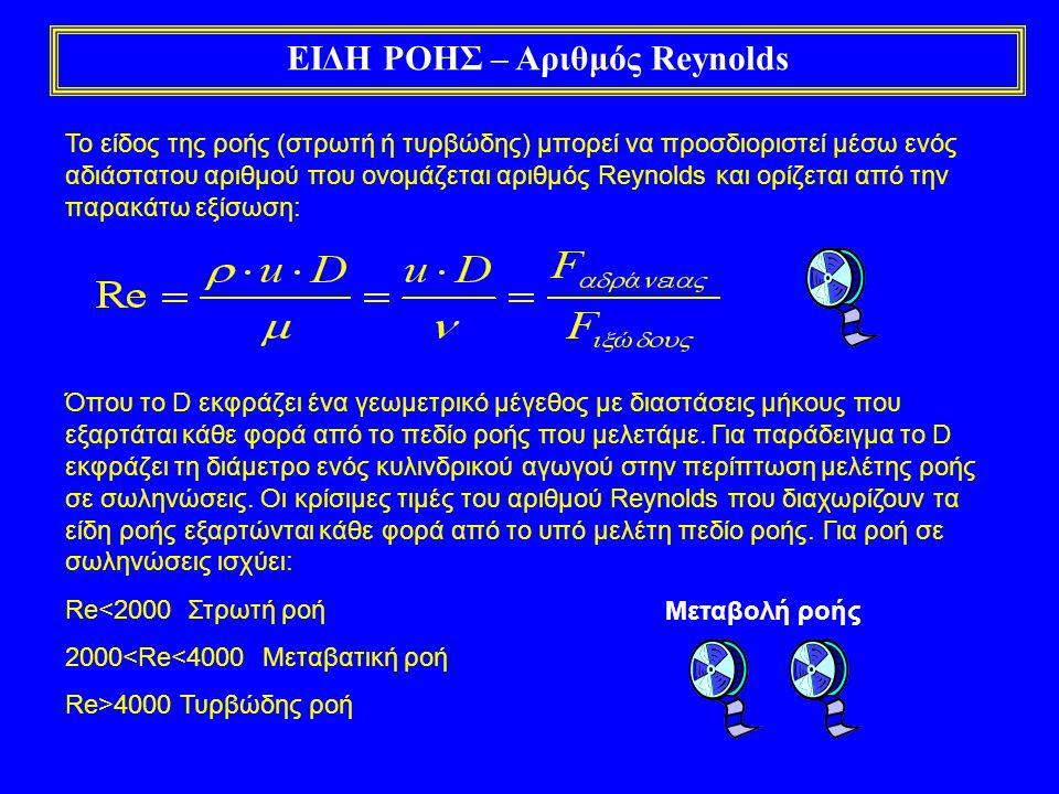 ΕΙΔΗ ΡΟΗΣ – Αριθμός Reynolds Το είδος της ροής (στρωτή ή τυρβώδης) μπορεί να προσδιοριστεί μέσω ενός αδιάστατου αριθμού που ονομάζεται αριθμός Reynolds και ορίζεται από την παρακάτω εξίσωση: Όπου το D εκφράζει ένα γεωμετρικό μέγεθος με διαστάσεις μήκους που εξαρτάται κάθε φορά από το πεδίο ροής που μελετάμε.