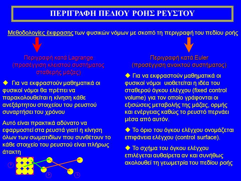 ΠΕΡΙΓΡΑΦΗ ΠΕΔΙΟΥ ΡΟΗΣ ΡΕΥΣΤΟΥ Μεθοδολογίες έκφρασης των φυσικών νόμων με σκοπό τη περιγραφή του πεδίου ροής Περιγραφή κατά Lagrange (προσέγγιση κλειστού συστήματος σταθερής μάζας)  Για να εκφραστούν μαθηματικά οι φυσικοί νόμοι θα πρέπει να παρακολουθείται η κίνηση κάθε ανεξάρτητου στοιχείου του ρευστού συναρτήσει του χρόνου Αυτό είναι πρακτικά αδύνατο να εφαρμοστεί στα ρευστά γιατί η κίνηση όλων των σωματιδίων που συνθέτουν το κάθε στοιχείο του ρευστού είναι πλήρως άτακτη Περιγραφή κατά Euler (προσέγγιση ανοικτού συστήματος)  Για να εκφραστούν μαθηματικά οι φυσικοί νόμοι υιοθετείται η ιδέα του σταθερού όγκου ελέγχου (fixed control volume) για τον οποίο γράφονται οι εξισώσεις μεταβολής της μάζας, ορμής και ενέργειας καθώς το ρευστό περνάει μέσα από αυτόν.