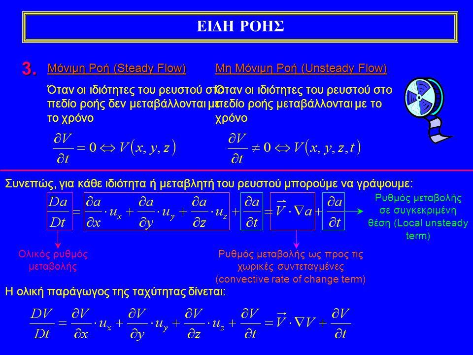 ΕΙΔΗ ΡΟΗΣ Συνεπώς, για κάθε ιδιότητα ή μεταβλητή του ρευστού μπορούμε να γράψουμε: Ολικός ρυθμός μεταβολής Ρυθμός μεταβολής σε συγκεκριμένη θέση (Local unsteady term) Ρυθμός μεταβολής ως προς τις χωρικές συντεταγμένες (convective rate of change term) Η ολική παράγωγος της ταχύτητας δίνεται: 3.