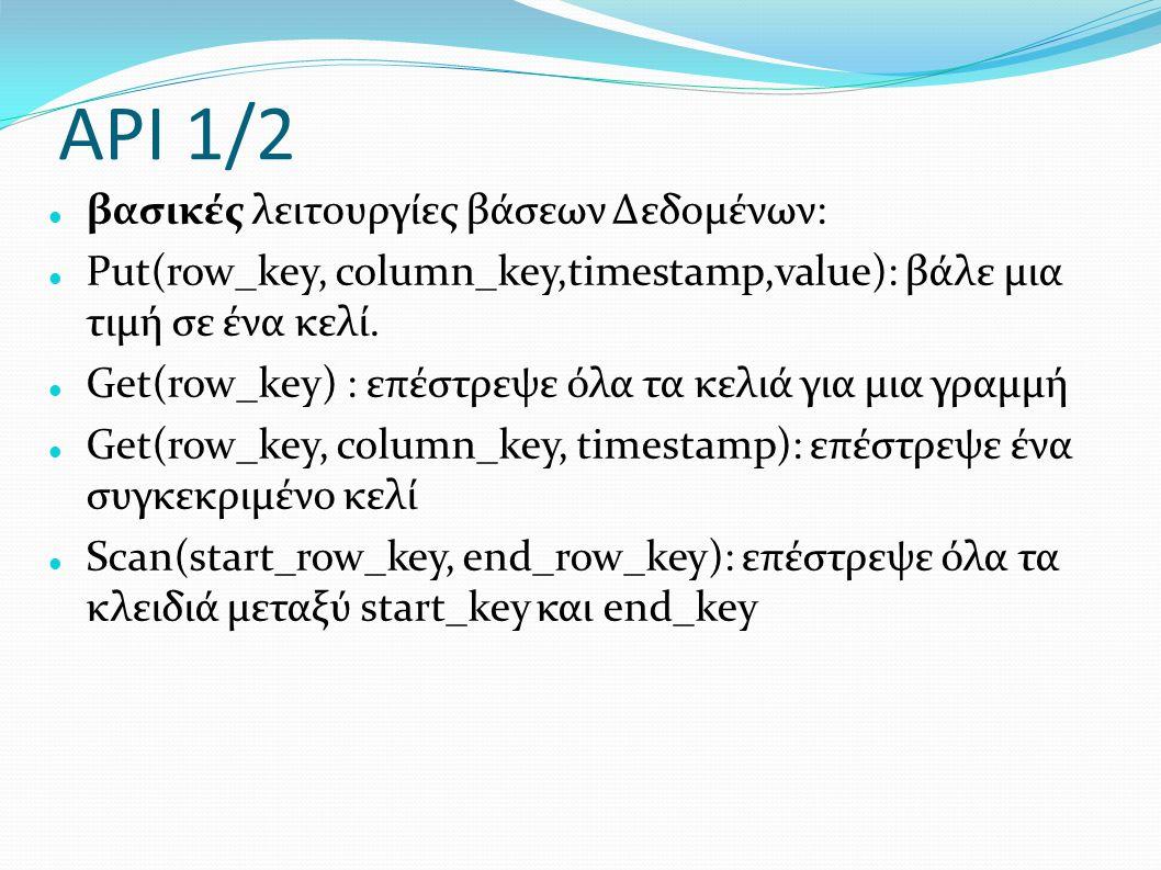 API 1/2 βασικές λειτουργίες βάσεων Δεδομένων: Put(row_key, column_key,timestamp,value): βάλε μια τιμή σε ένα κελί. Get(row_key) : επέστρεψε όλα τα κελ