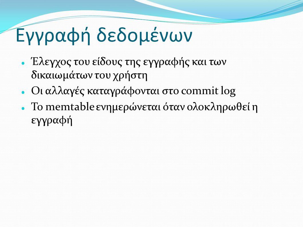 Εγγραφή δεδομένων Έλεγχος του είδους της εγγραφής και των δικαιωμάτων του χρήστη Οι αλλαγές καταγράφονται στο commit log Το memtable ενημερώνεται όταν