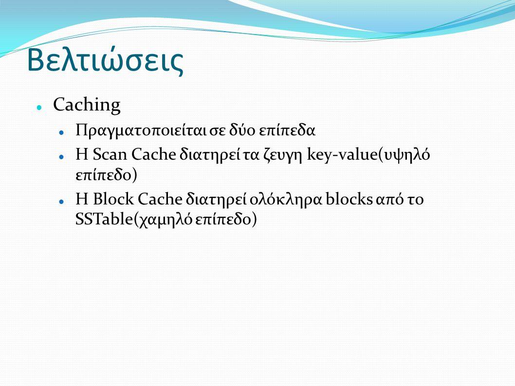Βελτιώσεις Caching Πραγματοποιείται σε δύο επίπεδα Η Scan Cache διατηρεί τα ζευγη key-value(υψηλό επίπεδο) Η Block Cache διατηρεί ολόκληρα blocks από