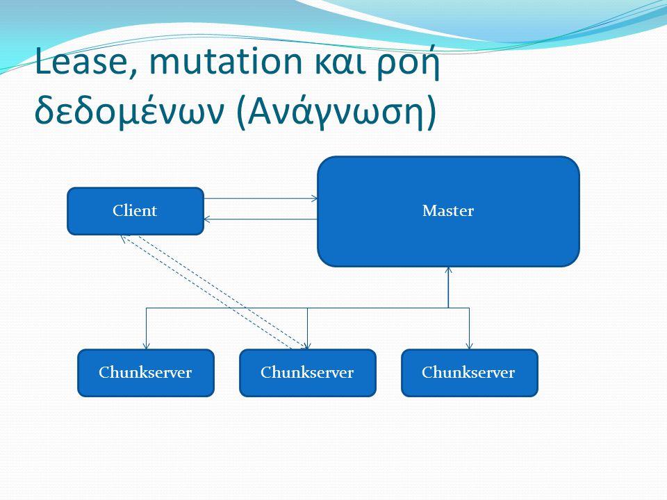 Lease, mutation και ροή δεδοµένων (Ανάγνωση) Client Chunkserver Master