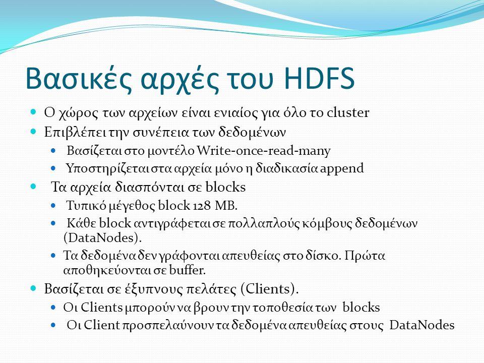 Βασικές αρχές του HDFS Ο χώρος των αρχείων είναι ενιαίος για όλο το cluster Επιβλέπει την συνέπεια των δεδομένων Βασίζεται στο μοντέλο Write-once-read