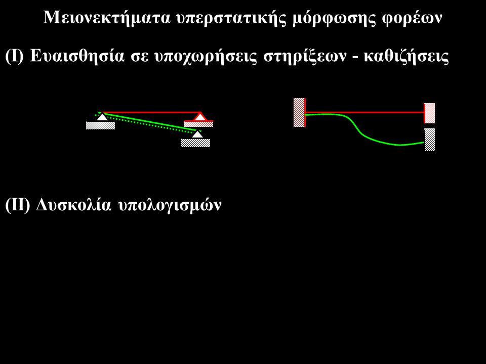 Προαπαιτούμενες γνώσεις από την θεωρία ισοστατικών φορέων Προσήμανση M, V, N MM N N V V Διαγράμματα  [ N +, N - ] [ V +, V - ][ M -, M + ] Σχέση μεταξύ q, V, M  dV(x)/dx = -q(x),dM(x)/dx = V(x)
