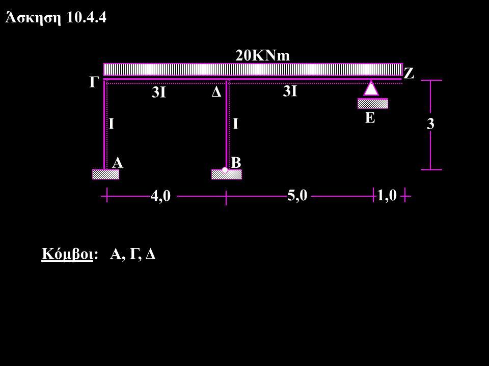 Αρχικές ροπές CROSS Μ ο ΓΔ = -26,7 kΝm, Μ ο ΔΓ = +26,7 kΝm, Μ ο ΕΖ = -20  1 2 /2 = -10 kΝm Μ ο ΔΕ = -20  5 2 /8 - (-10/2) = -57,5 kΝm Δείκτες ακαμψίας -συντελεστές κατανομής: K ΓΑ = 4I/3 = 1,33I Κ ΓΔ = 4  3I/4 = 3I S Γ = 4,33I μ ΓΑ = 1,33/4,33 = 0,31 μ ΓΔ = 3,0/4,33 = 0,69 Σ μ = 1,0 K ΔΓ = Κ ΓΔ =3I Κ ΔΒ = 3I/3 = I Κ ΔΕ = 3  3Ι/5 = 1,8I S Δ =5,8Ι μ ΔΓ = 3/5,8 = 0,52 μ ΔΒ = 1/5,8 = 0,17 μ ΔΕ = 1,8/5,8 =0,31 Σ μ = 1,0