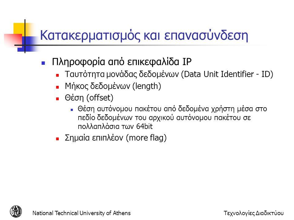 National Technical University of AthensΤεχνολογίες Διαδικτύου Κατακερματισμός και επανασύνδεση Πληροφορία από επικεφαλίδα IP Ταυτότητα μονάδας δεδομέν