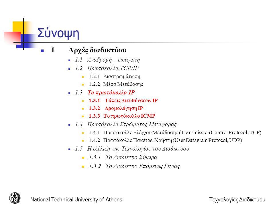 National Technical University of AthensΤεχνολογίες Διαδικτύου Address Resolution Protocol (ARP) Βήματα host A: 1) φτιάχνει IP datagram με πηγή:111.111.111.111, προορισμό 222.222.222.222 2) πίνακας δρομολόγησης: επόμενος δρομολογητής για το 222.222.222.222 είναι ο 111.111.111.110 3) χρησιμοποιεί το ARP για να βρει την διεύθυνση ΜΑC του 111.111.111.110.