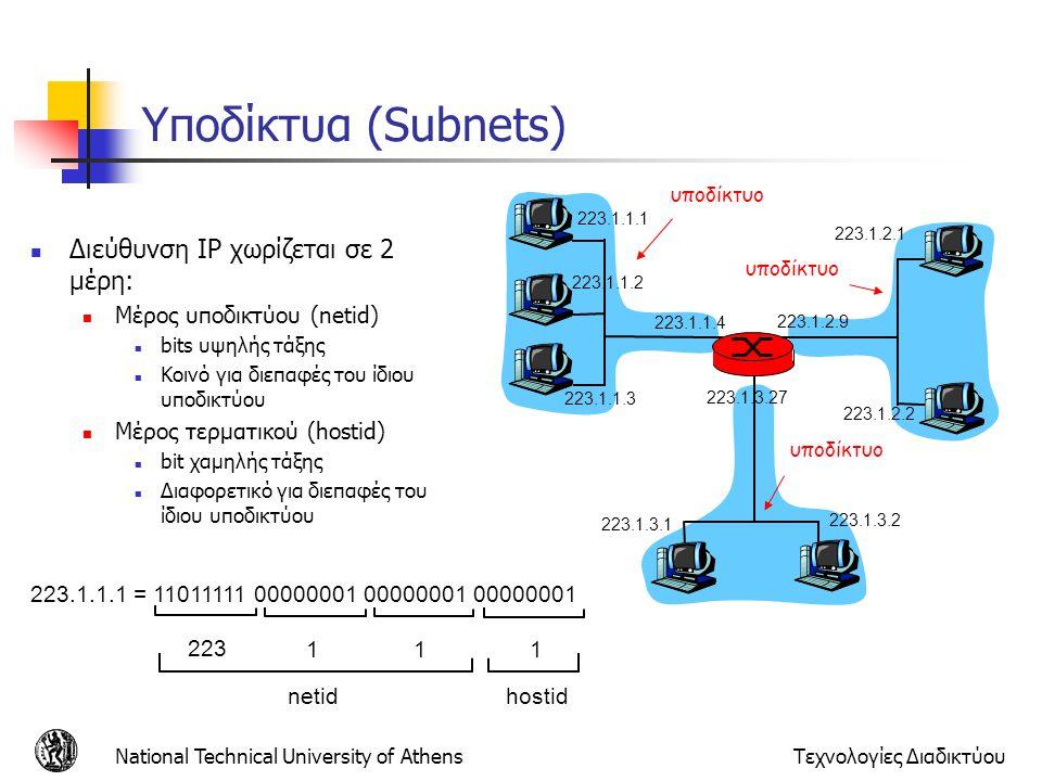 National Technical University of AthensΤεχνολογίες Διαδικτύου Υποδίκτυα (Subnets) Διεύθυνση IP χωρίζεται σε 2 μέρη: Μέρος υποδικτύου (netid) bits υψηλ