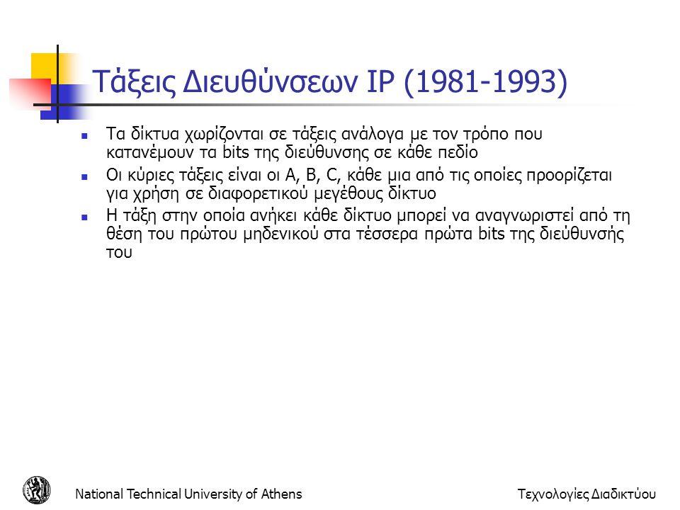 National Technical University of AthensΤεχνολογίες Διαδικτύου Τάξεις Διευθύνσεων IP (1981-1993) Τα δίκτυα χωρίζονται σε τάξεις ανάλογα με τον τρόπο πο