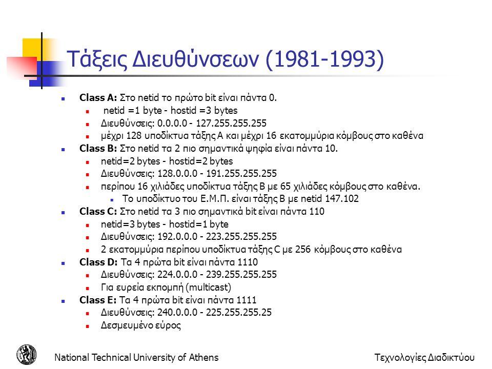 National Technical University of AthensΤεχνολογίες Διαδικτύου Τάξεις Διευθύνσεων (1981-1993) Class A: Στο netid το πρώτο bit είναι πάντα 0. netid =1 b
