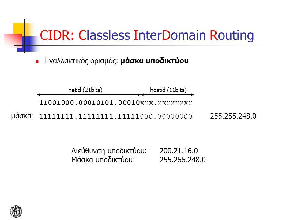CIDR: Classless InterDomain Routing Εναλλακτικός ορισμός: μάσκα υποδικτύου 11001000.00010101.00010xxx.xxxxxxxx netid (21bits)hostid (11bits) 11111111.