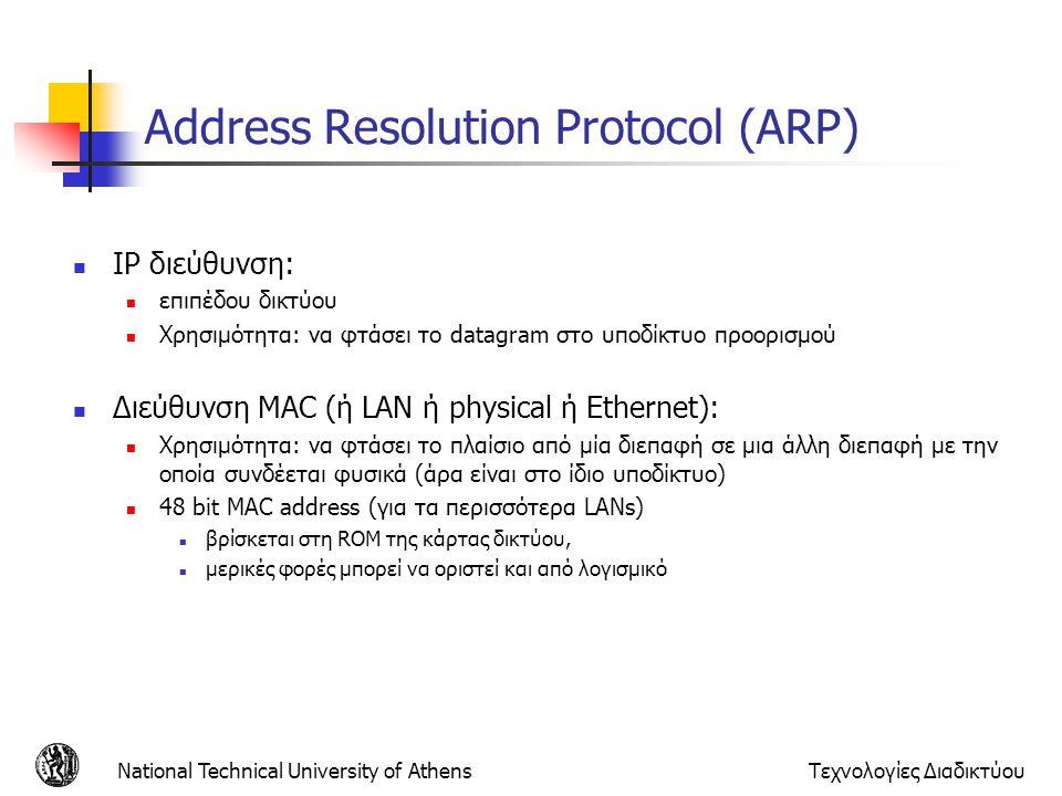 National Technical University of AthensΤεχνολογίες Διαδικτύου Address Resolution Protocol (ARP) IP διεύθυνση: επιπέδου δικτύου Χρησιμότητα: να φτάσει