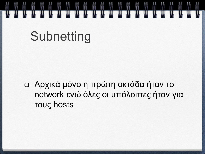Subnetting Αρχικά μόνο η πρώτη οκτάδα ήταν το network ενώ όλες οι υπόλοιπες ήταν για τους hosts
