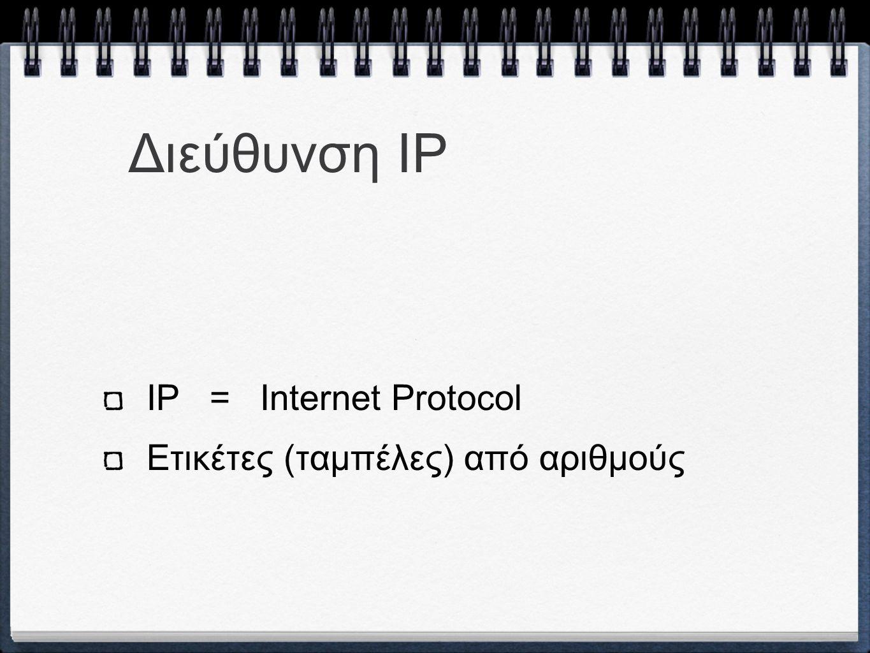 Διεύθυνση IP Αναγνώριση ενός χρήστη (host) ή ενός δικτύου (network) Διεύθυση της τοποθεσίας του (location address)