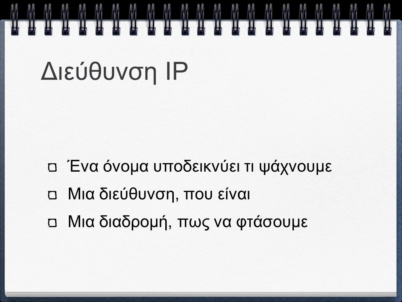 Αρχιτεκτονικές Διευθύνσεων IP 32 bits (IPv4) 128 bits (IPv6)