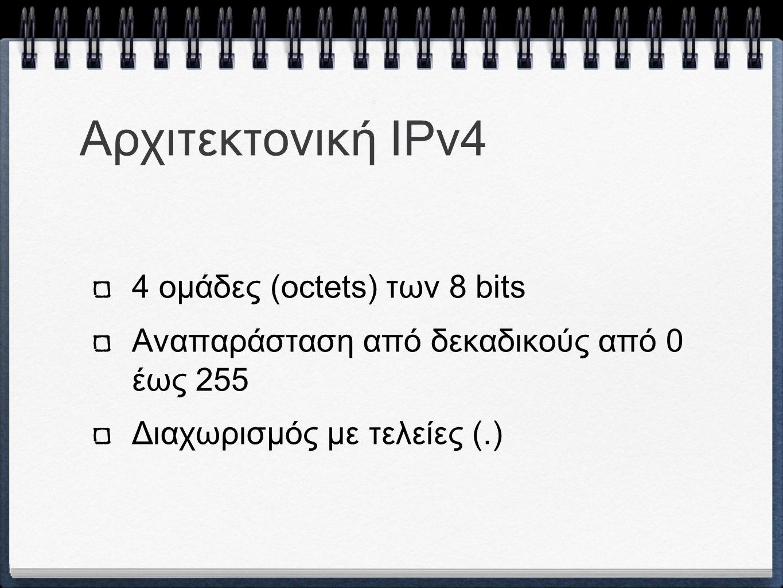Αρχιτεκτονική ΙPv4 4 ομάδες (octets) των 8 bits Αναπαράσταση από δεκαδικούς από 0 έως 255 Διαχωρισμός με τελείες (.)
