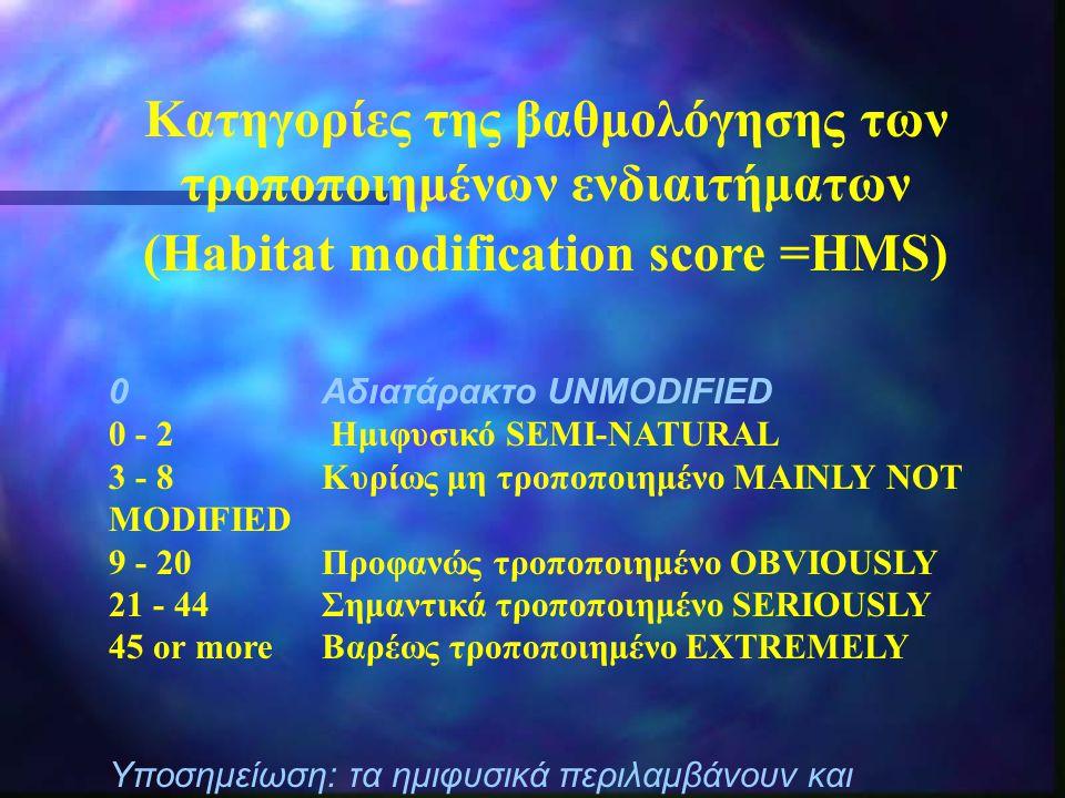 Κατηγορίες της βαθμολόγησης των τροποποιημένων ενδιαιτήματων (Habitat modification score =HMS) 0 Αδιατάρακτο UNMODIFIED 0 - 2 Ημιφυσικό SEMI-NATURAL 3 - 8 Κυρίως μη τροποποιημένο MAINLY NOT MODIFIED 9 - 20 Προφανώς τροποποιημένο OBVIOUSLY 21 - 44 Σημαντικά τροποποιημένο SERIOUSLY 45 or more Βαρέως τροποποιημένο EXTREMELY Υποσημείωση: τα ημιφυσικά περιλαμβάνουν και αδιατάρακτα κανάλια