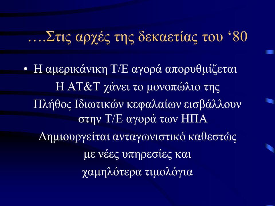2.1.2 Η πορεία του τομέα των τηλεπικοινωνιών στην Ε.Ε Τα κύρια χαρακτηριστικά των Τ/Ε Μέχρι το 1970: Κρατικά Μονοπώλια Εθνικές Πολιτικές Τ/Ε Παντελής