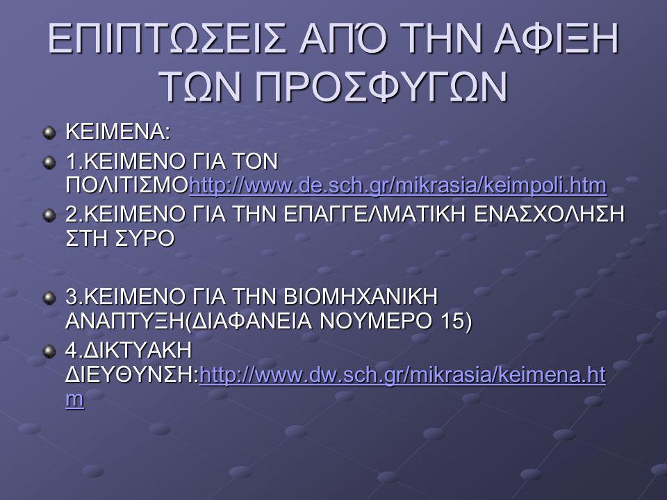 ΕΠΙΠΤΩΣΕΙΣ ΑΠΌ ΤΗΝ ΑΦΙΞΗ ΤΩΝ ΠΡΟΣΦΥΓΩΝ ΚΕΙΜΕΝΑ: 1.ΚΕΙΜΕΝΟ ΓΙΑ ΤΟΝ ΠΟΛΙΤΙΣΜΟhttp://www.de.sch.gr/mikrasia/keimpoli.htm http://www.de.sch.gr/mikrasia/ke