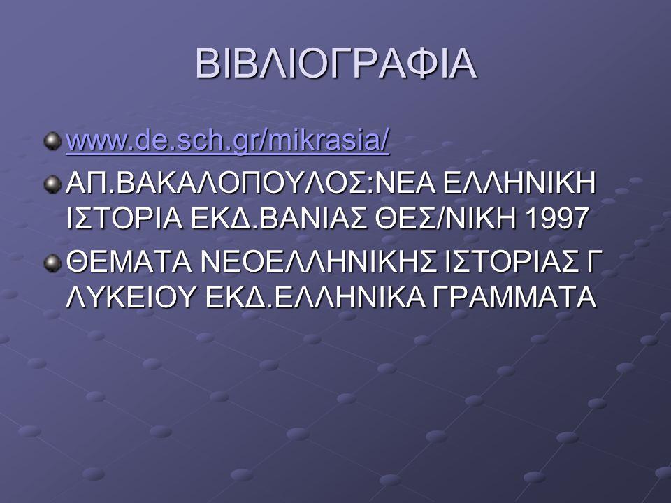 ΒΙΒΛΙΟΓΡΑΦΙΑ www.de.sch.gr/mikrasia/ ΑΠ.ΒΑΚΑΛΟΠΟΥΛΟΣ:ΝΕΑ ΕΛΛΗΝΙΚΗ ΙΣΤΟΡΙΑ ΕΚΔ.ΒΑΝΙΑΣ ΘΕΣ/ΝΙΚΗ 1997 ΘΕΜΑΤΑ ΝΕΟΕΛΛΗΝΙΚΗΣ ΙΣΤΟΡΙΑΣ Γ ΛΥΚΕΙΟΥ ΕΚΔ.ΕΛΛΗΝΙΚΑ