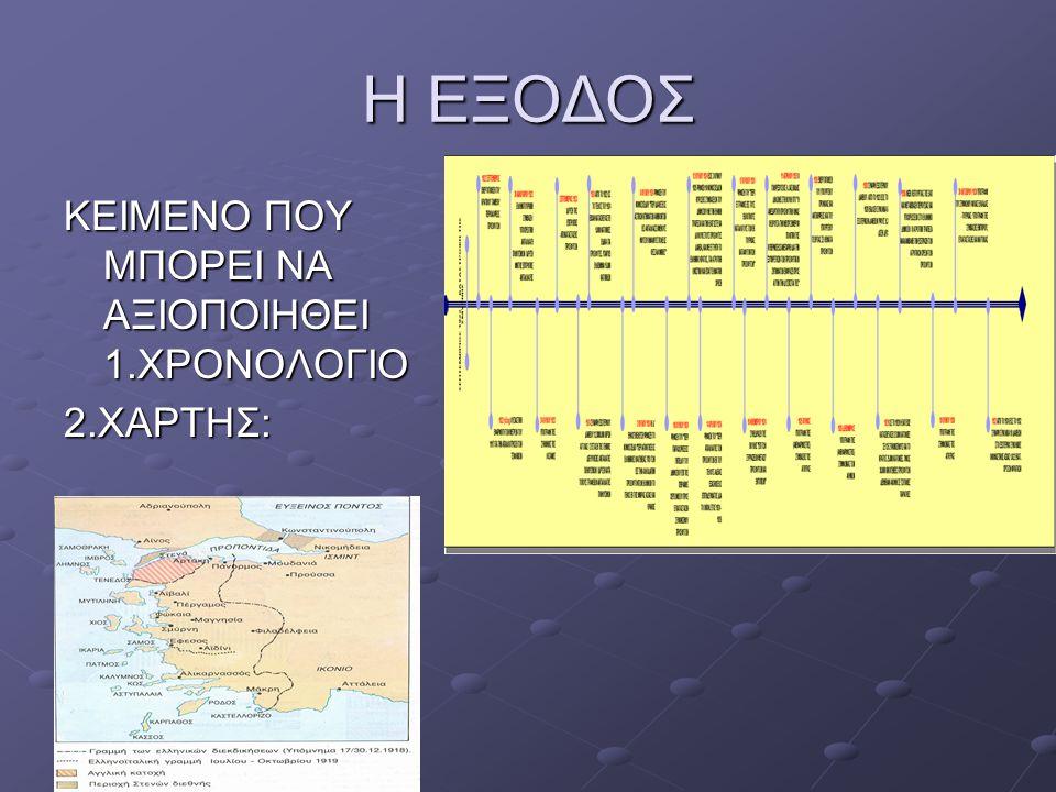 Η ΕΞΟΔΟΣ ΚΕΙΜΕΝΟ ΠΟΥ ΜΠΟΡΕΙ ΝΑ ΑΞΙΟΠΟΙΗΘΕΙ 1.ΧΡΟΝΟΛΟΓΙΟ 2.ΧΑΡΤΗΣ: