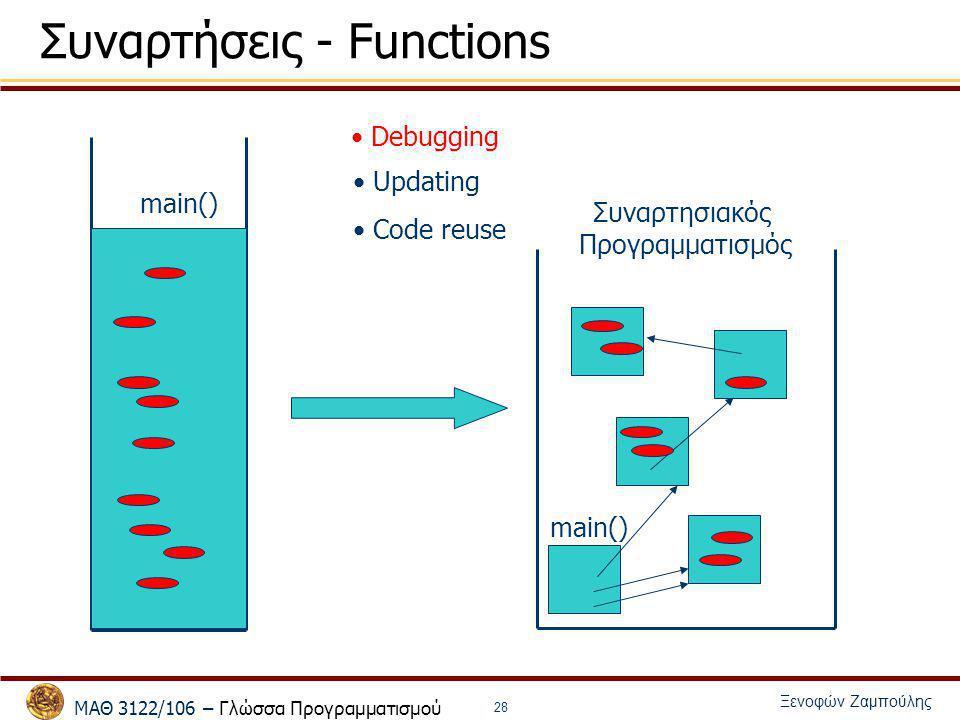 ΜΑΘ 3122/106 – Γλώσσα Προγραμματισμού Ξενοφών Ζαμπούλης 28 Συναρτήσεις - Functions main() Debugging Updating Code reuse Συναρτησιακός Προγραμματισμός