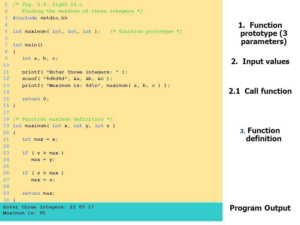 ΜΑΘ 3122/106 – Γλώσσα Προγραμματισμού Ξενοφών Ζαμπούλης 1. Function prototype (3 parameters) 2. Input values 2.1 Call function 3. Function definition