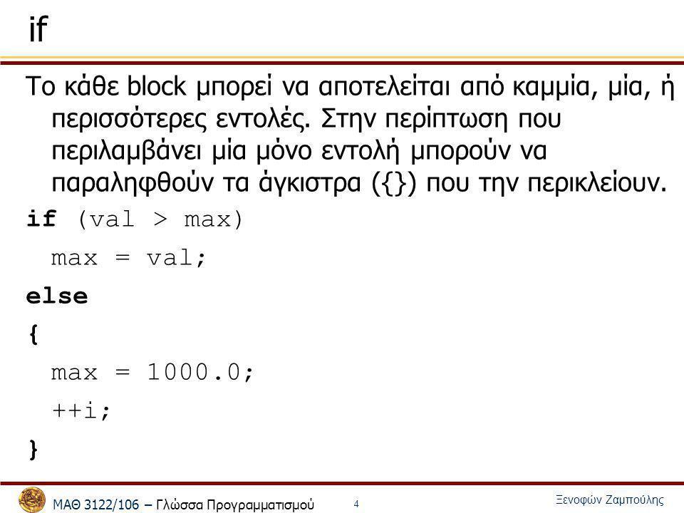 ΜΑΘ 3122/106 – Γλώσσα Προγραμματισμού Ξενοφών Ζαμπούλης 4 if Το κάθε block μπορεί να αποτελείται από καμμία, μία, ή περισσότερες εντολές. Στην περίπτω