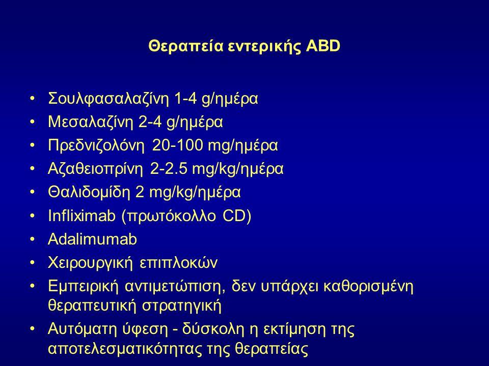 Θεραπεία εντερικής ABD Σουλφασαλαζίνη 1-4 g/ημέρα Μεσαλαζίνη 2-4 g/ημέρα Πρεδνιζολόνη 20-100 mg/ημέρα Αζαθειοπρίνη 2-2.5 mg/kg/ημέρα Θαλιδομίδη 2 mg/k