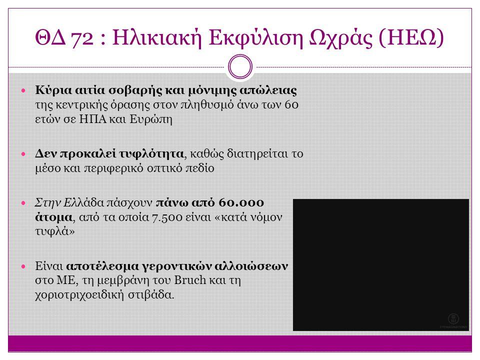 ΘΔ 72 : Ηλικιακή Εκφύλιση Ωχράς (ΗΕΩ) Κύρια αιτία σοβαρής και μόνιμης απώλειας της κεντρικής όρασης στον πληθυσμό άνω των 60 ετών σε ΗΠΑ και Ευρώπη Δε