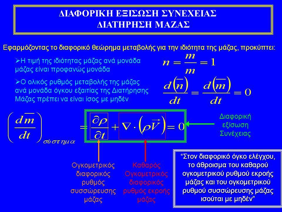 ΑΝΑΛΥΣΗ ΔΙΑΦΟΡΙΚΗΣ ΕΞΙΣΩΣΗΣ ΣΥΝΕΧΕΙΑΣ Η εξίσωση αυτή είναι γενική και ισχύει για όλα τα πεδία ροής Διαφορική μορφή Διανυσματική μορφή Για ασυμπίεστο ρευστό ισχύει: Eξίσωση συνέχειας για ασυμπίεστο ρευστό