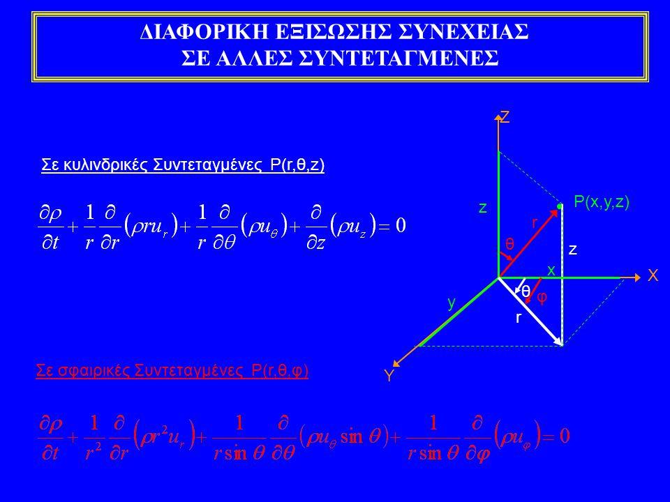 ΔΙΑΦΟΡΙΚΗ ΕΞΙΣΩΣΗ ΟΡΜΗΣ Εφαρμόζοντας το διαφορικό θεώρημα μεταβολής για την ιδιότητα της ορμής, προκύπτει:  Η τιμή της ιδιότητας της ορμής ανά μονάδα μάζας είναι ίση με το διάνυσμα της ταχύτητας  Ο ολικός ρυθμός μεταβολής της ορμής ανά μονάδα όγκου είναι ίσος με το διάνυσμα της δύναμης ανά μονάδα όγκου σύμφωνα με τον 1 ο νόμο κίνησης του Νεύτωνα Ογκομετρικός διαφορικός ρυθμός μεταβολής ορμής στον διαφορικό όγκο ελέγχου Καθαρός Ογκομετρικός διαφορικός ρυθμός εκροής ορμής Διαφορική εξίσωση ορμής