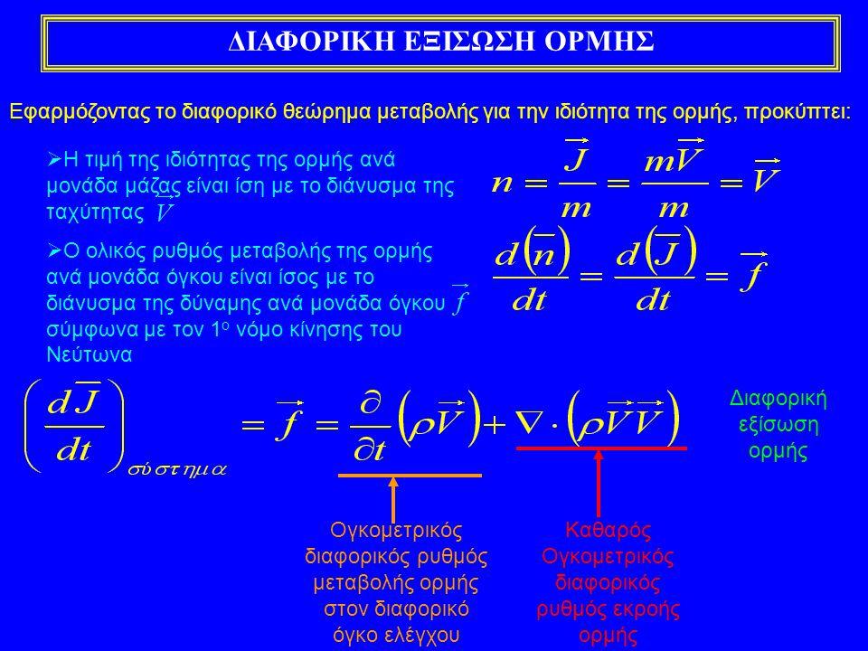 ΔΙΑΦΟΡΙΚΗ ΕΞΙΣΩΣΗ ΟΡΜΗΣ Εφαρμόζοντας το διαφορικό θεώρημα μεταβολής για την ιδιότητα της ορμής, προκύπτει:  Η τιμή της ιδιότητας της ορμής ανά μονάδα