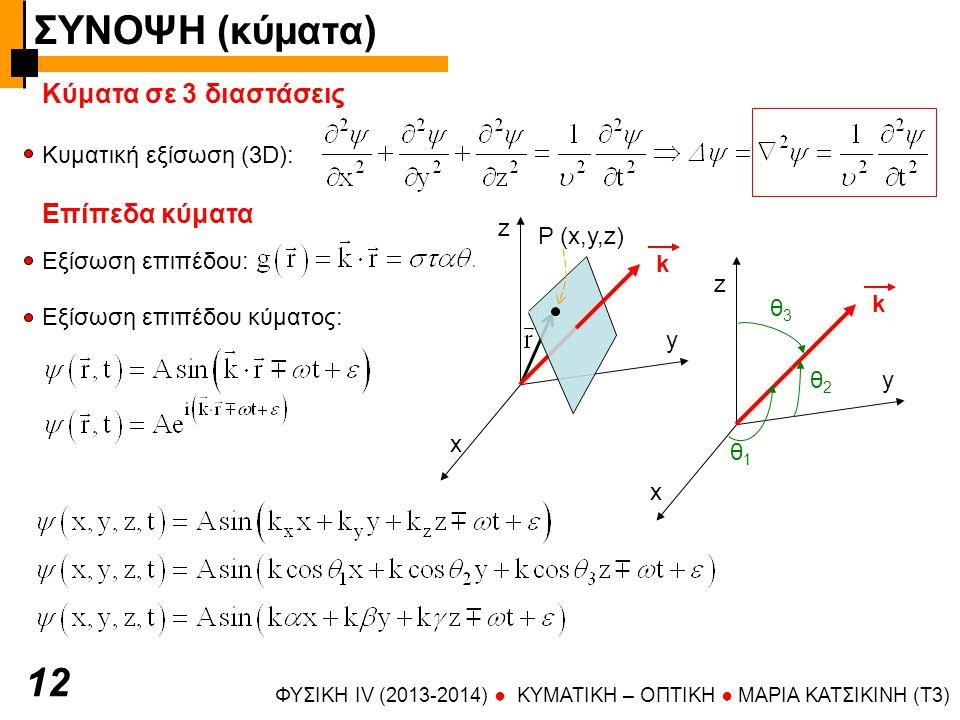 ΦΥΣΙΚΗ IV (2013-2014) ● KYMATIKH – OΠTIKH ● ΜΑΡΙΑ ΚΑΤΣΙΚΙΝΗ (T3) Κύματα σε 3 διαστάσεις Κυματική εξίσωση (3D): 12 Επίπεδα κύματα Εξίσωση επιπέδου: Εξίσωση επιπέδου κύματος: z x y k θ1θ1 θ2θ2 θ3θ3 x y z k P (x,y,z) ΣΥΝΟΨΗ (κύματα)