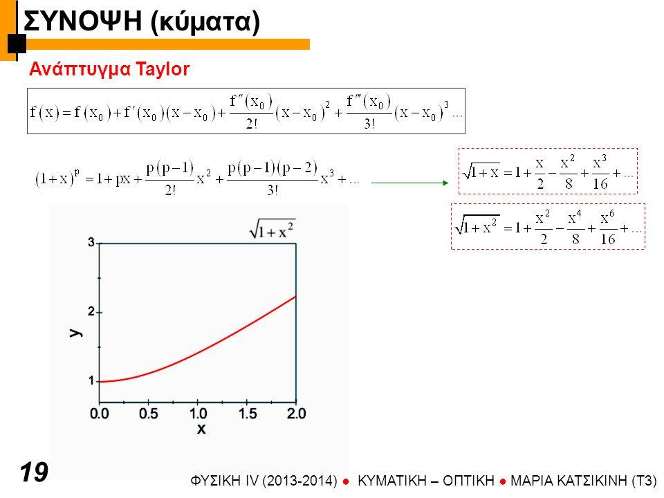 ΦΥΣΙΚΗ IV (2013-2014) ● KYMATIKH – OΠTIKH ● ΜΑΡΙΑ ΚΑΤΣΙΚΙΝΗ (T3) Ανάπτυγμα Taylor 19 ΣΥΝΟΨΗ (κύματα)