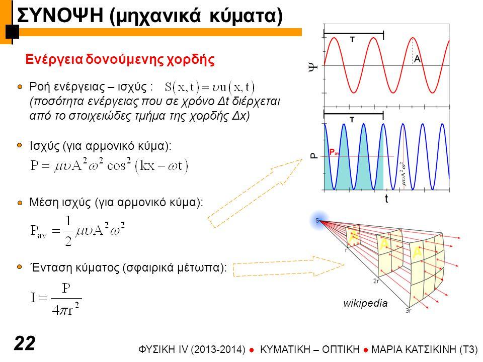 ΦΥΣΙΚΗ IV (2013-2014) ● KYMATIKH – OΠTIKH ● ΜΑΡΙΑ ΚΑΤΣΙΚΙΝΗ (T3) 2 Ενέργεια δονούμενης χορδής Ροή ενέργειας – ισχύς : (ποσότητα ενέργειας που σε χρόνο Δt διέρχεται από το στοιχειώδες τμήμα της χορδής Δx) Ένταση κύματος (σφαιρικά μέτωπα): Ισχύς (για αρμονικό κύμα): Μέση ισχύς (για αρμονικό κύμα): wikipedia ΣΥΝΟΨΗ (μηχανικά κύματα)