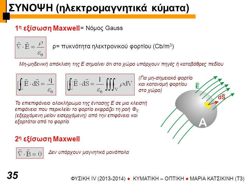 ΦΥΣΙΚΗ IV (2013-2014) ● KYMATIKH – OΠTIKH ● ΜΑΡΙΑ ΚΑΤΣΙΚΙΝΗ (T3) 3535 1 η εξίσωση Maxwell = Νόμος Gauss ρ= πυκνότητα ηλεκτρονικού φορτίου (Cb/m 3 ) (Για μη-σημειακό φορτίο και κατανομή φορτίου στο χώρο) Μη-μηδενική απόκλιση της Ε σημαίνει ότι στο χώρο υπάρχουν πηγές ή καταβόθρες πεδίου Το επιεπιφάνειο ολοκλήρωμα της έντασης Ε σε μια κλειστή επιφάνεια που περικλείει το φορτίο εκφράζει τη ροή Φ Ε (εξερχόμενη μείον εισερχόμενη) από την επιφάνεια και εξαρτάται από το φορτίο 2 η εξίσωση Maxwell Δεν υπάρχουν μαγνητικά μονόπολα ΣΥΝΟΨΗ (ηλεκτρομαγνητικά κύματα)