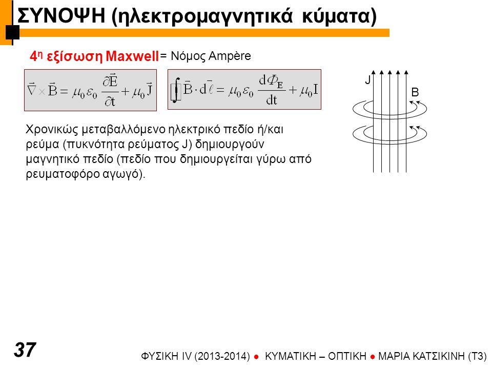 ΦΥΣΙΚΗ IV (2013-2014) ● KYMATIKH – OΠTIKH ● ΜΑΡΙΑ ΚΑΤΣΙΚΙΝΗ (T3) 3737 4 η εξίσωση Maxwell = Νόμος Ampère Χρονικώς μεταβαλλόμενο ηλεκτρικό πεδίο ή/και ρεύμα (πυκνότητα ρεύματος J) δημιουργούν μαγνητικό πεδίο (πεδίο που δημιουργείται γύρω από ρευματοφόρο αγωγό).