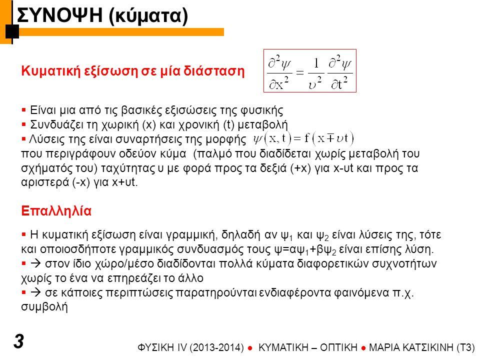 ΦΥΣΙΚΗ IV (2013-2014) ● KYMATIKH – OΠTIKH ● ΜΑΡΙΑ ΚΑΤΣΙΚΙΝΗ (T3) 4 Αρμονικά κύματα Φάση  Ημιτονοειδείς συναρτήσεις του :  Μήκος κύματος, συχνότητα, κυκλική συχνότητα, περίοδος, κυματάριθμος  Θεμελιώδης εξίσωση της κυματικής  λόγος ταχυτήτων: k=ω/υ  Φάση = όρισμα του ημιτόνου, συνάρτηση του x,t: Ταχύτητα φάσης (φασική ταχύτητα)  Ταχύτητα φάσης = φασική ταχύτητα = ταχύτητα κύματος = ταχύτητα με την οποία κινούνται σημεία σταθερής φάσης (  σταθερού πλάτους) ψ t Τ Α ψ x λ Στιγμιότυπο του κύματος (t=σταθ) Ταλάντωση συγκεκριμένου σημείου ή χρονική μεταβολή έντασης πεδίου (x=σταθ) ΣΥΝΟΨΗ (κύματα)